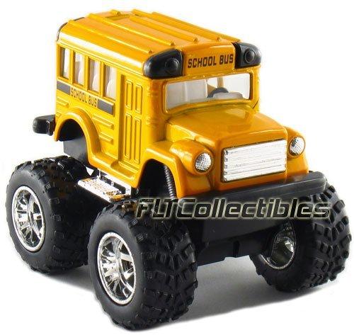 KinsFun 12 pcs in Box: 4'' Monster Wheel Short School Bus, Pull Back Action (Yellow)