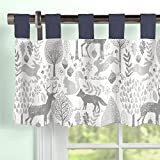 Carousel Designs Navy and Gray Woodland Window Valance Tab-Top