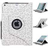 iPad Air Case, E LV iPad Air Case Cover - Shock-Absorption / Impact Resistant PU Leather Full Body Protective Smart Case Cover (Inbuilt Rotating Stand and Automatic Wake/Sleep Function) 1 Screen Protector, 1 Stylus and 1 E LV Microfiber Digital Cleaner for iPad Air (iPad Air, Leopard White)