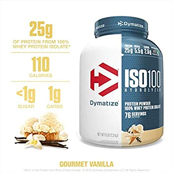 Dymatize ISO100 Hydrolyzed Protein Powder, 100% Whey Isolate Protein, 25g of Protein, 5.5g BCAAs, Gluten Free, Fast Absorbing, Easy Digesting, Vanilla, 5 Pound