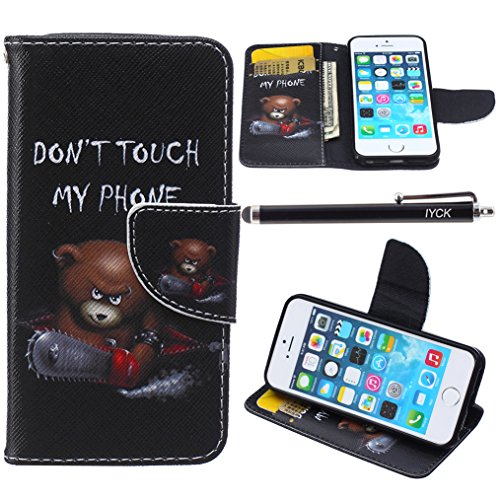 iPhone SE Case, iPhone 5S Case Wallet, iYCK Premium PU Leather Flip Folio Carrying Magnetic Closure Protective Shell Wallet Case Cover for iPhone 5/5S/SE/5SE with Kickstand Stand - Electric Saw Bear