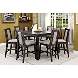 Cheap Furniture of America Basson Rustic Grey 9-Piece Expandable Counter Height Dining Set