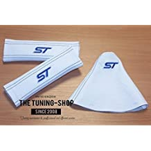 The Tuning-Shop Ltd 2X Seat Belt Covers Pads Shoulder White Leather Blue St + Gear Gaiter For Ford Fiesta Mk6 2001-08 22Cm X 6Cm