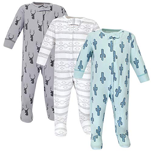 Yoga Sprout Baby Zipper Sleep N Play, Cactus 3 Pack, 6-9 Months (9M) ()