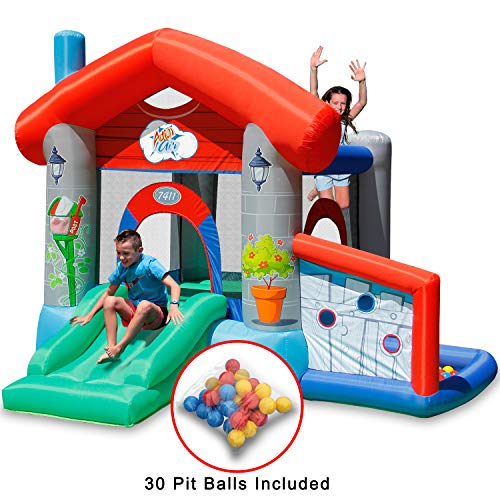 (ACTION AIR Bounce House, Air Bouncer with 30 Ball, Inflatable Bouncer with Air Blower, Jumping Castle with Slide, for Outdoor and Indoor, Durable Sewn with Extra Thick Material, Idea for Kids)