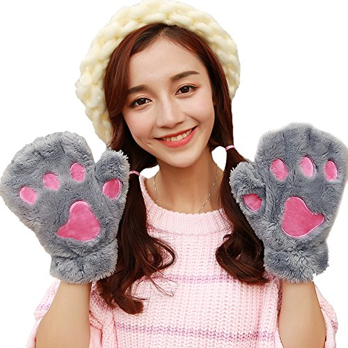 Women Winter Cute Fluffy Bear Plush Paw Claw Gloves Soft Mittens  Full Finger  Gray