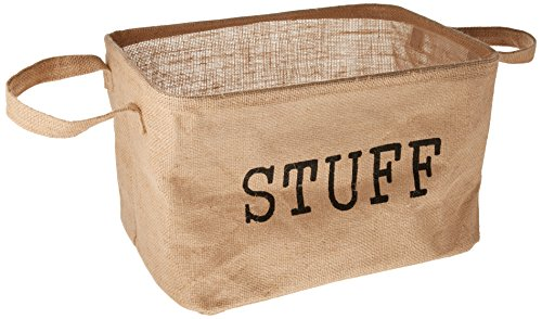 """51rThSt29IL - 14.5"""" Jute Storage Basket with Handles and Protective Lining by Trademark Innovations"""