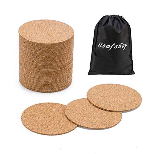 60 Pack SelfAdhesive Cork Round  4quotx 4quot Cork Backing Sheets Mini Wall Cork Tiles for Coasters and DIY Crafts