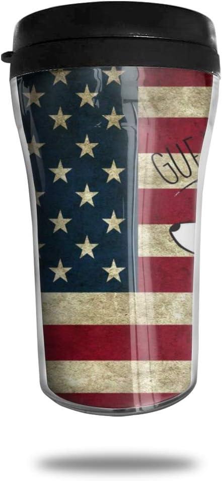 CZJAHBL Retro Cute Corgi Ass American Flag Travel Coffee Mug Delicate Printing Portable Vacuum Cup,Food Grade Abs Insulated Cup Anti-Spill(8.8 Oz)