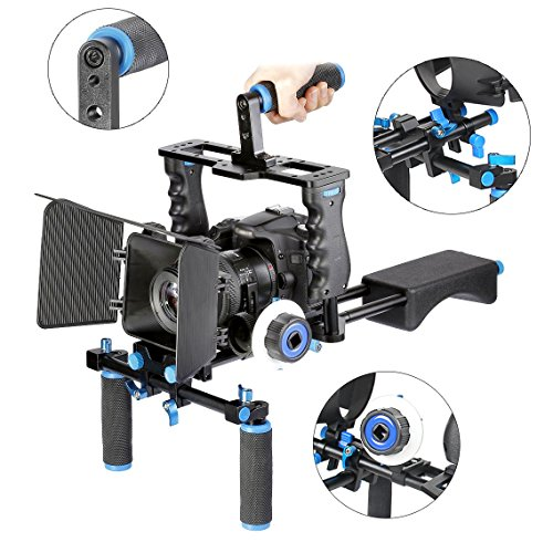 Aluminum Film Movie Kit System Rig includes:(1)Video Cage+(1)Top Handle Grip+(2)15mm Rod+(1)Matte Box+(1)Follow Focus+(1)Shoulder Rig Compatible for Canon/Nikon/Pentax/Sony and other DSLR Cameras