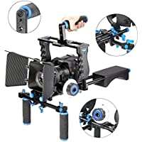 Aluminum Film Movie Kit System Rig for Canon/Nikon/Pentax/Sony and other DSLR Cameras,includes:(1)Video Cage+(1)Top Handle Grip+(2)15mm Rod+(1)Matte Box+(1)Follow Focus+(1)Shoulder Rig