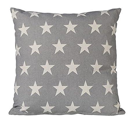Kissen Set Star Sterne Grau Anthrazit 40x40 Baumwolle