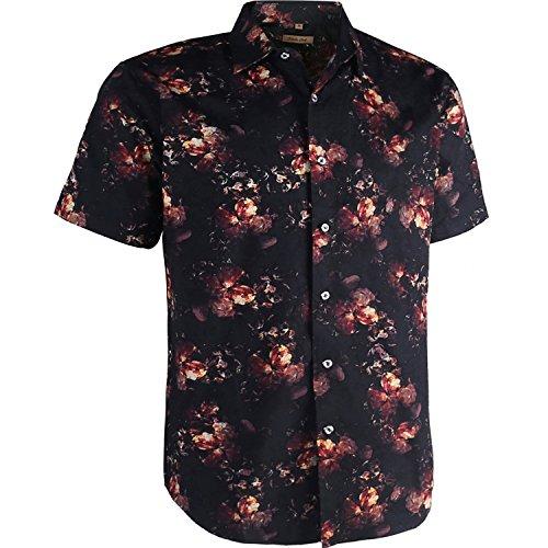 Coevals Club Men's Shirts Men's 100% Cotton Casual Short Sleeve Flower Button Down Shirt (Flower/Black #1, ()