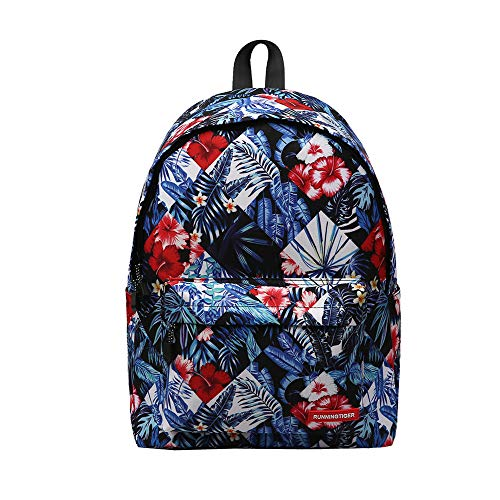 Retro Portable Floral Lightweight Students Rucksack, YiMiky Zipper Retro Backpack for Women and Men Rucksack Fashion Canvas Cycling Casual School Printing Pattern Bags Travelling Shopping Bags (03) by YiMiky