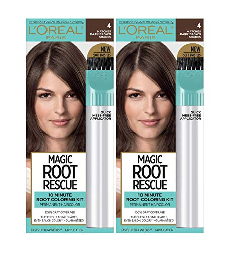 L'Oreal Paris Magic Root Rescue 10 Minute Root Hair Coloring Kit, Permanent Hair Color with Quick Precision Applicator, 100% Gray Coverage, 4 Dark Brown, 2 count