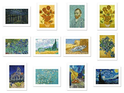 Postcard Art Painting - Wish Pub - Handmade Assorted Vincent van Gogh Painting Postcards - Set of 12 Unique Design