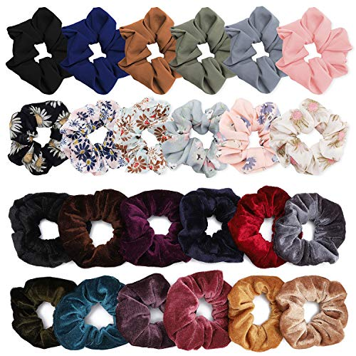 (YESHM Pack of 24 Chiffon Flower Hair Scrunchies,Velvet Colorful Hair Ties,Elastic Hair Bobbles for Ponytail Holder,Hair Accessories Ropes Scrunchie for Women Mixcolor Flower Printed Solid Color)