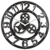 Ganen 23-Inch Clock 3D Retro Rustic Vintage Wooden Decorative Roman Numeral Noiseless Gear Wall Clock, Roman-Silver (Number-Silver)