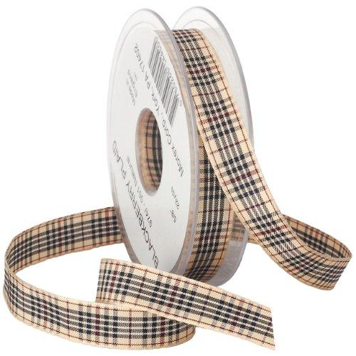 - Morex BlackBerry Plaid Ribbon, 5/8-Inch by 22-Yard Spool, Natural