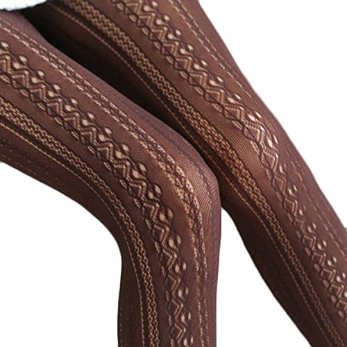 Chiffon Panty (L&ZZ Women Fishnet Hollow Out Chiffon Lace Stockings Tights Vertical Strips Pantyhose For Female)