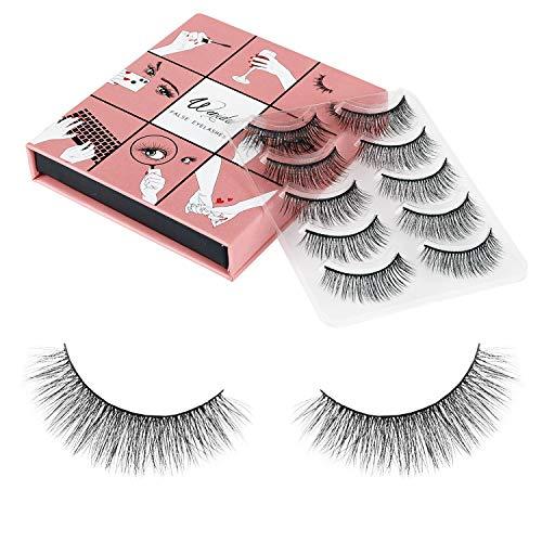 3D Fake Eyelashes WENIDA 5 Pairs 100% Handmade Reusable Long Soft Reusable Nature Fluffy False Eyelashes