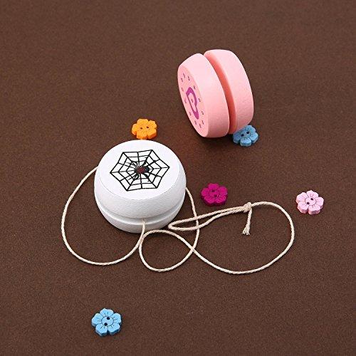 KOBWA Wooden Yoyo, Creative Personalized Children's Toys Yo-Yo Ball with Cartoon Pattern for Kids' Gift Party Activity (White)
