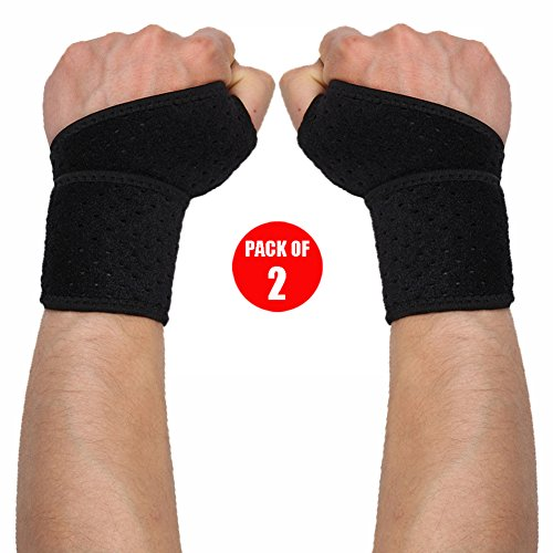 WOTOP Wrist Brace Wraps Carpal Tunnel Tendonitis Arthritis Pain Relief, Sports Wrist Support Protector Stabilizer Strap Band Compression Fits Right&Left Hand for Women and Men Pack of 2