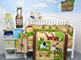 Boutique Safari Jungle Animals Baby Crib Nursery Bedding Set 13 pcs included Diaper Bag with Changing Pad & Bottle Case