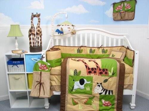 Boutique Safari Jungle Animals Baby Crib Nursery Bedding Set 13 pcs included Diaper Bag with Accessories
