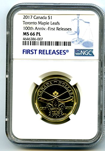 2017 CANADA TORONTO MAPLE LEAFS LOONIE RARE 100TH ANNIVERSARY BLUE LABEL DOLLAR LOON FIRST RELEASES RARE PROOF LIKE $1 MS66 PL (2009 Canadian Maple Leaf)
