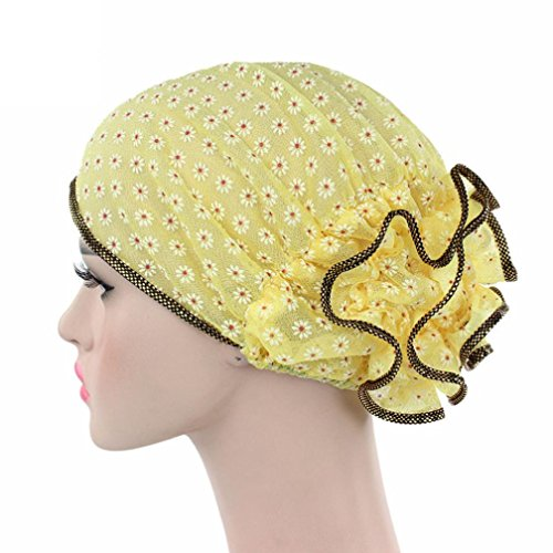 Iuhan Flower Lace Ruffle Women Cancer Chemo Hat Beanie Scarf Turban Head Wrap Cap (Yellow)
