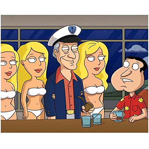 Family Guy (TV Series 1999 - ) 8 inch by 10 inch PHOTOGRAPH Glen Quagmire from Waist Up at Bar w/Hugh Hefner -