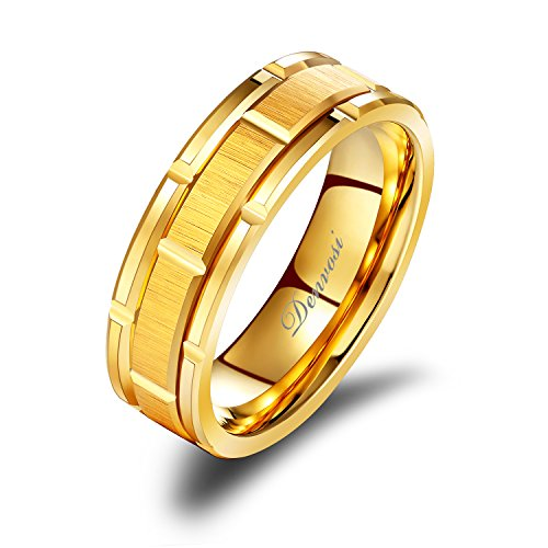 (Denvosi Men Wedding Band Tungsten Ring 8MM Brick Pattern Matte Brushed Gold Surface Engagement Ring Comfort Fit Size 9.5)