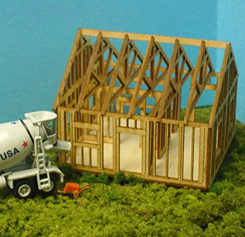 House Under Construction Kit - Train Time Laser O Scale Single Story House Under Construction Kit
