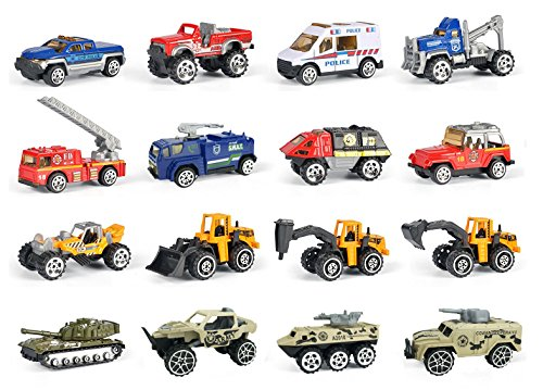 - 16 Piece Mini Diecast Assortment Vehicles Gift Pack Play Set