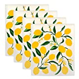 DII Swedish Dishcloths, 100% Natural Cellulose 7.75 x 6.75 Set of 4, Reusable, Dishwasher and Microwave Safe, Environmentally Friendly Dish Cloths - Lemons