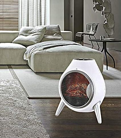 Garden Mile Portátil 1.8Kw Blanco Retro Ovalado Estufa Leña Fuego Eléctrico Estufa, de Pie