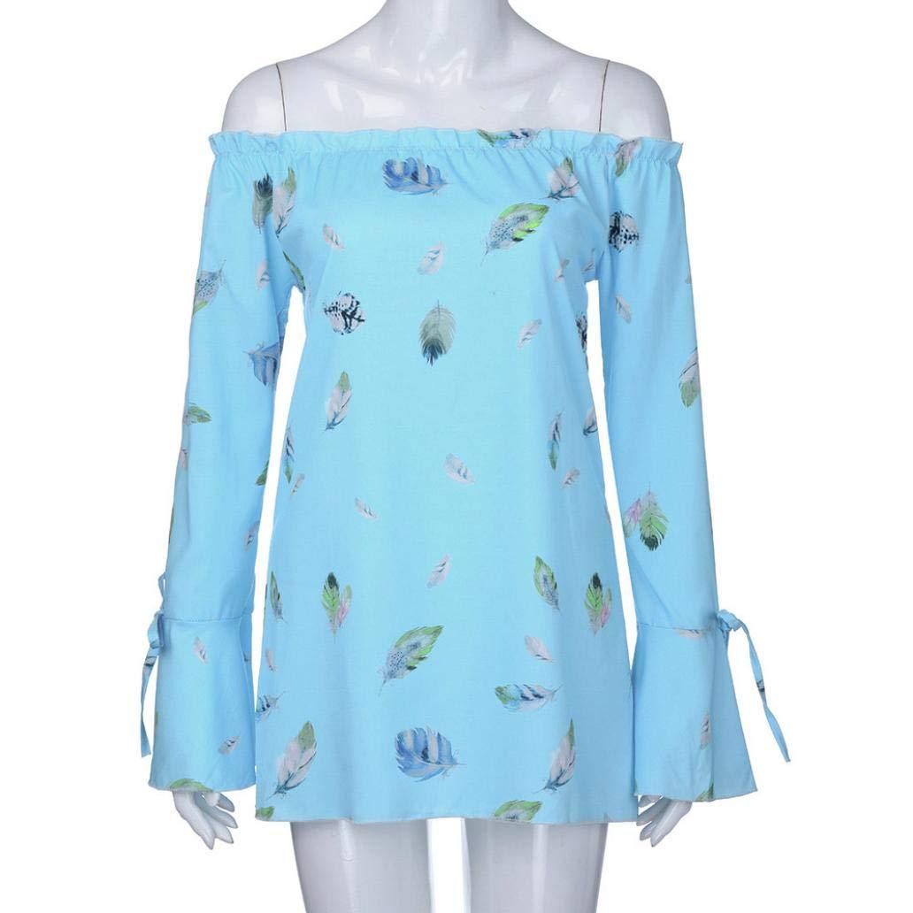 a10c3ec9f6a4d6 Amazon.com  Nice Women s Long Sleeve Floral Print Plus Size Off Shoulder  Loose Tops Blouse (L