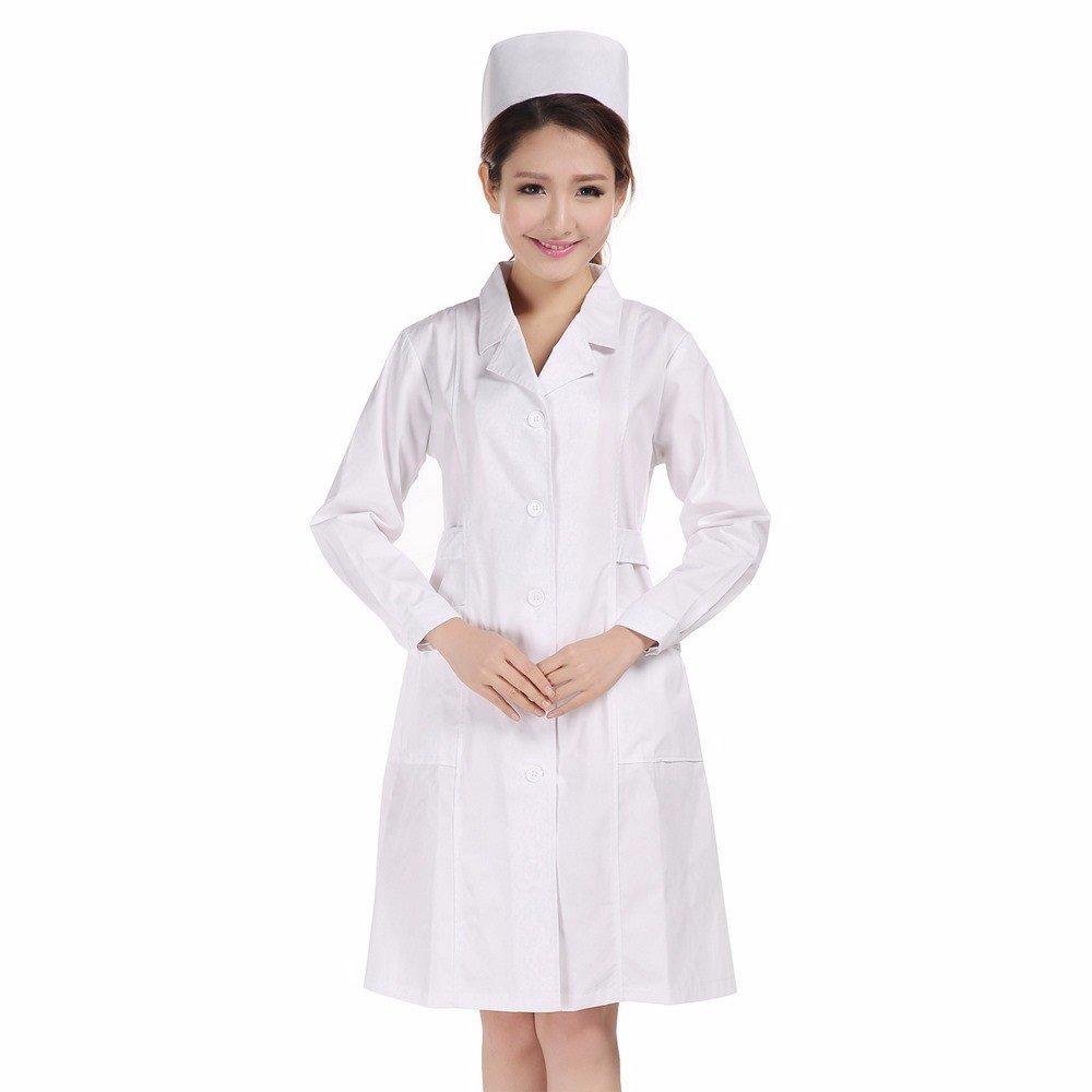 Xuanku Las Enfermeras Blanca Manga Larga, División De Salón De Belleza, Ropa De Trabajo De Laboratorio, Doctoras, Batas, Primavera Y Otoño Outfit: ...