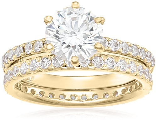 (Yellow-Gold Plated Sterling Silver Round Ring Set made with Swarovski Zirconia (1 Carat Center Stone), Size)