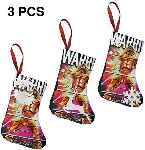 クリスマスの日の靴下 (ソックス3個)クリスマスデコレーションソックス 戦士Warrior クリスマス、ハロウィン 家庭用、ショッピングモール用、お祝いの雰囲気を加える 人気を高める、販売、プロモーション、年次式