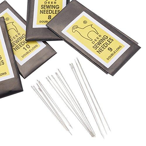 (Pandahall 10Bags Iron Sewing Needles Darning Needles Beading Hand Embroidery Needle Pony Needle Platinum 40~55x0.45~0.7mm)