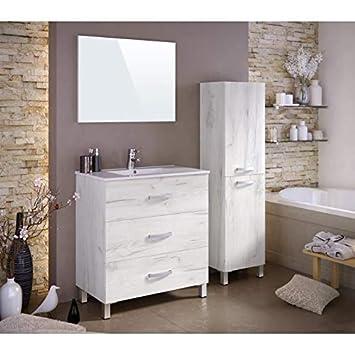 STELLA Ensemble Salle De Bain Simple Vasque L 80 Cm   Blanc Effet Bois