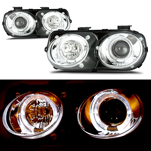 - cciyu Chrome Housing/Clear Lens Projector Headlight Assembly with Halo Replacement fit for 1998-2001 Acura Integra Pair Set