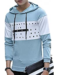 Mens Casual Fashion Long Sleeve T Shirt with Drawstring Hoodies Tops