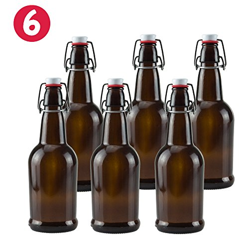 16 oz Amber Glass Beer Bottles for Home Brewing 6 Pack with (Amber Coin Glass)