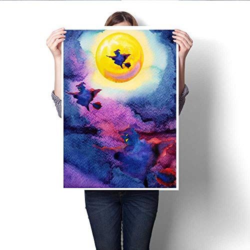 Anshesix The Picture for Home Decoration Witch Flying on Night Sky Halloween Yellow Full Moon Party Background Watercolor Painting Hand Drawn Canvas Art Posters Prints Wall Art 32