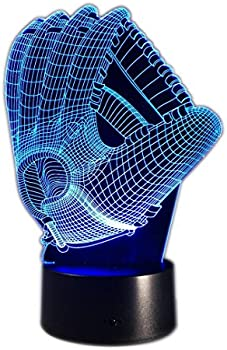 DB.WOR Baseball Glove 7 Color Change Optical Illusion Night Light