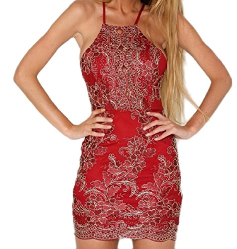 Del Ricamato Coolred Rosso Imbracatura Senza Pizzo Trasversale Sera Da donne Schienale In Partito Vestito Del Rwg1nwYxpq