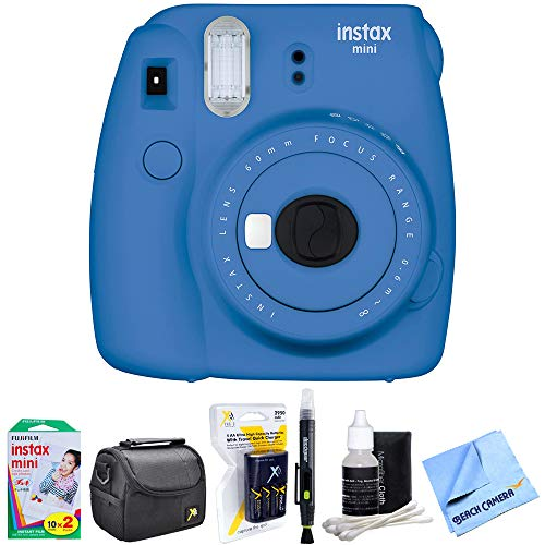 Fujifilm Instax Mini 9 Instant Camera Cobalt Blue (16550667) with 20 Sheets of Instant Film, Bag for Cameras, AA Charger w/AA Batteries, LCD/Lens Cleaning Pen, Lens Cleaning Kit & Micro Fiber Cloth